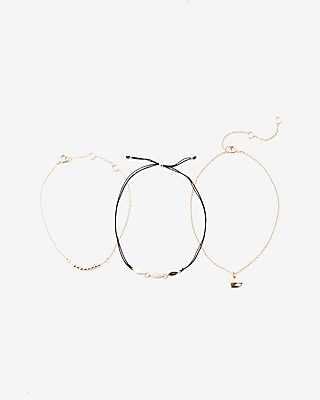 Express Womens Set Of Three Embellished Charm Bracelets Gold Women's  Gold