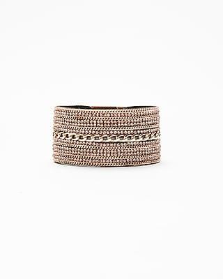 Express Womens Rhinestone Chain Turnlock Cuff Bracelet