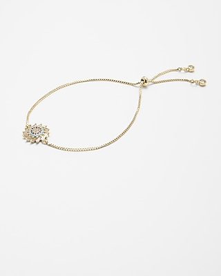 Express Womens Round Cubic Zirconia Pull-Cord Bracelet