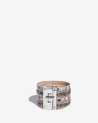 Express Womens Stripe Stone Turnlock Cuff Bracelet