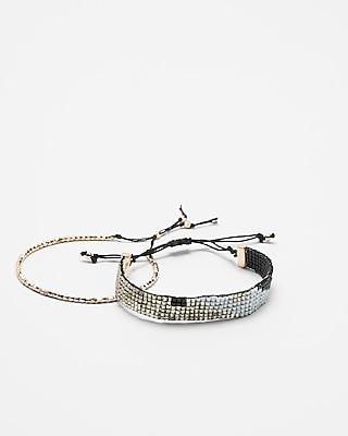 Express Womens Set Of Two Rhinestone Pull-Cord Bracelets