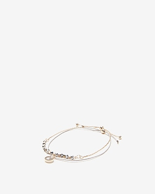 Express Womens Faceted Metal Pull-Cord Bracelet