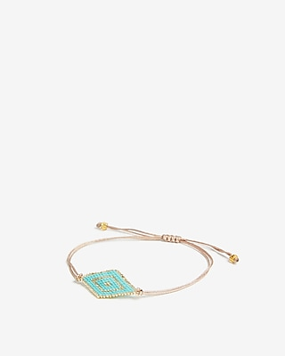 Express Womens Turquoise Beaded Pull-Cord Bracelet