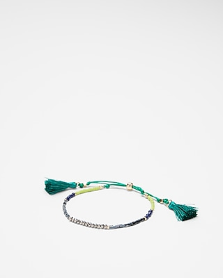 Express Womens Green Faceted Tassel Pull-Cord Bracelet