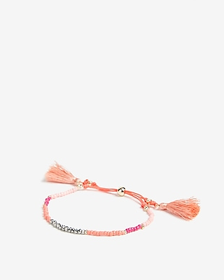 Express Womens Faceted Tassel Pull Cord Bracelet