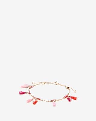 Express Womens Pink Mini Tassel Pull-Cord Bracelet