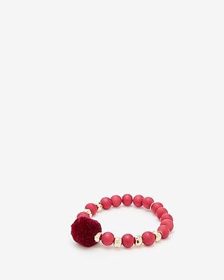 Express Womens Wooden Bead Pom Stretch Bracelet