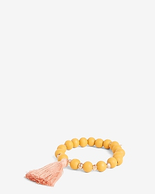 Express Womens Wooden Bead Tassel Stretch Bracelet