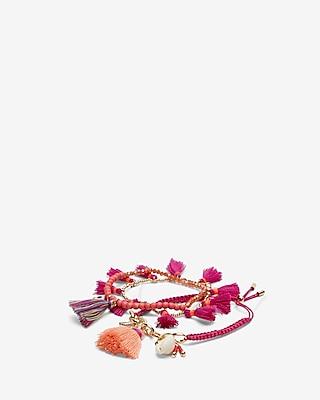 Express Womens Set Of 3 Bead Shell Tassel Bracelets