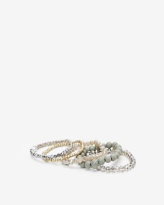 Express Womens Set Of Five Beaded Stretch Bracelets