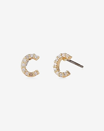 pave c initial stud earrings