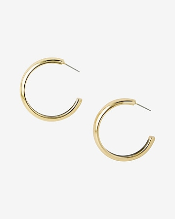 enamel inset open hoop earrings