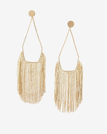 beaded fringe drop earrings