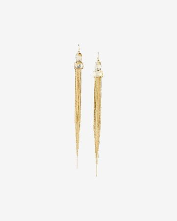 embellished linear fringe drop earrings