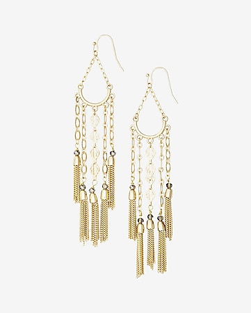 metal fringe and tassel drop earrings