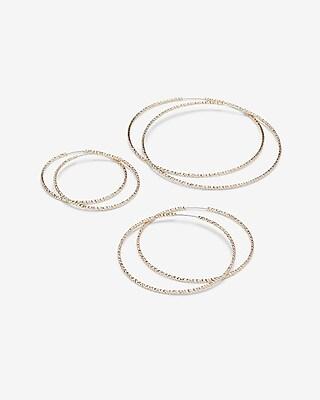 Express Womens Set Of Three Textured Hoop Earrings