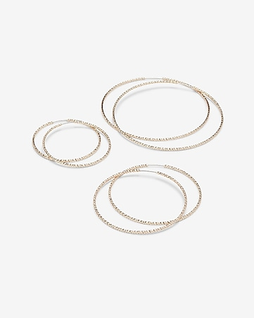 textured hoop earrings set of 3