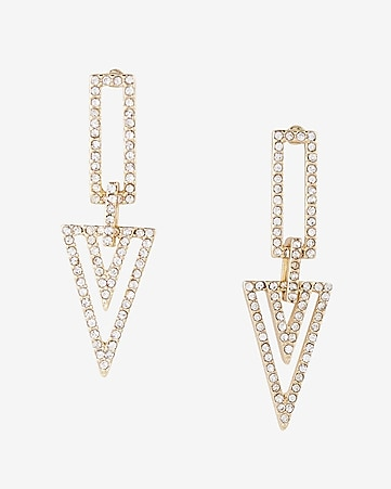 embellished triangle drop earrings