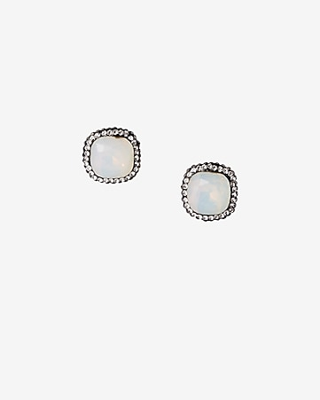 square pave stone post earrings