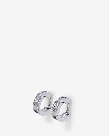 square stone huggie earrings