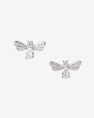 cubic zirconia bee post earrings