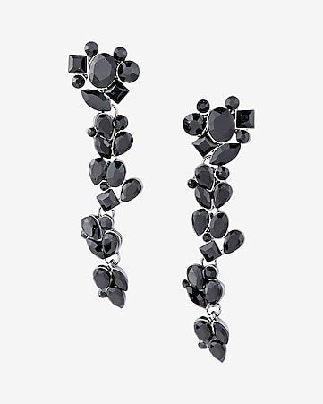 stone cluster drop earrings