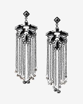 Express Womens Bead Fringe Chandelier Drop Earrings