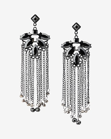 bead fringe chandelier drop earrings