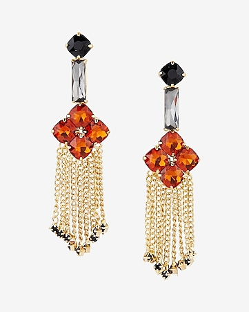 stone flower chain fringe drop earrings