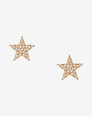 Express Womens Cubic Zirconia And Gold Star Stud Earrings