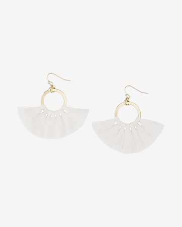 tassel circle drop earrings