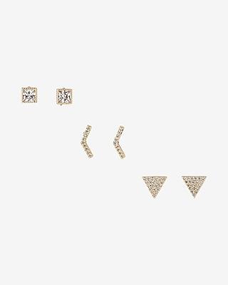 Express Womens Set Of Three Geometric Stud Earrings