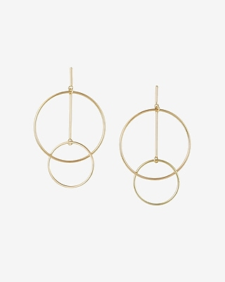 Express Womens Geometric Interlock Hoop Earrings