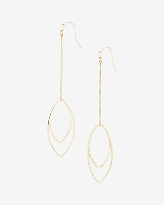 Express Womens Double Oval Drop Earrings