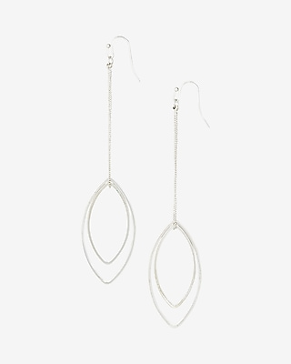 Express Womens Double Oval Drop Earrings Silver