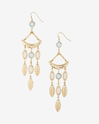 Express Womens Faceted Stone Drop Earrings