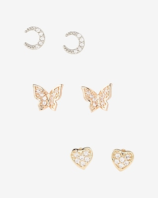 Express Womens Set Of Three Embellished Moon And Heart Stud Earrings