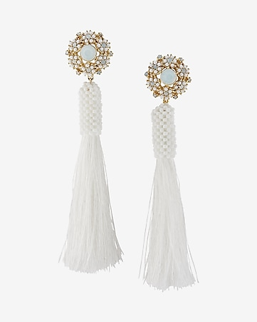 tassel post back earrings