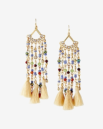 beaded tassel fringe drop earrings