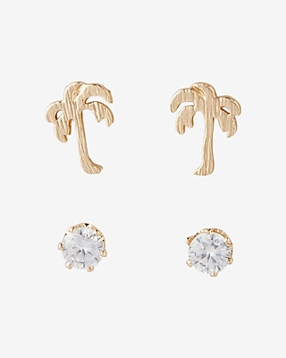 Set Of Two Palm Tree And Stone Stud Earrings