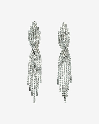 Express Womens Crossover Rhinestone Fringe Drop Earrings
