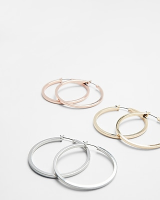 Express Womens Set Of Three Silver And Gold Hoop Earrings