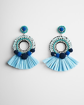 Express Womens Pom Fringe Drop Earrings