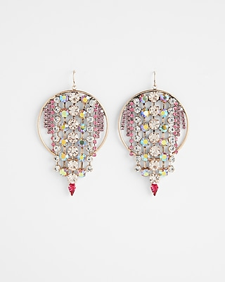 Express Womens Rhinestone Fringe Drop Earrings