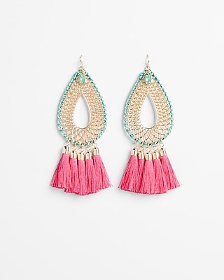Express Womens Woven Tassel Teardrop Earrings Pink Women's  Pink
