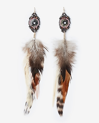 Express Womens Beaded Pendant Feather Drop Earrings