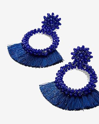 Express Womens Wrapped Tassel Earrings Blue Women's  Blue