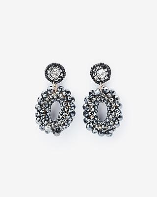 Express Womens Wrapped Oblong Beaded Drop Earrings