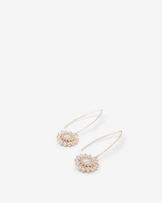 Express Womens Star Flower Open Cubic Zirconia Pull Through Earrings
