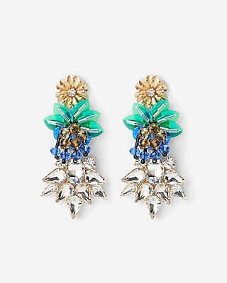 Express Womens Mixed Sequin Crystal Drop Earrings